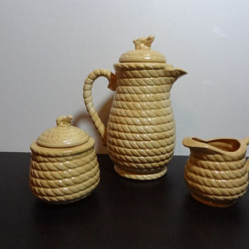 Vintage Yellow Ceramic Teapot, Sugar Bowl, and Creamer Pitcher with Rope Design - Tea Serving Set or Decor