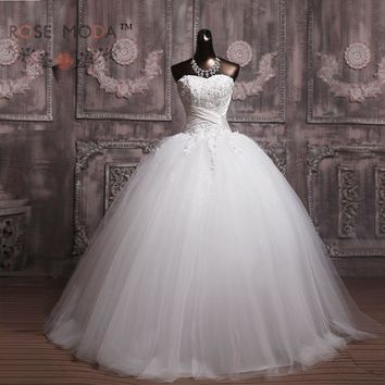 Strapless Lace Corset Wedding Ball Gown Ivory and Champagne Wedding Dress Debutante Dress Vestidos de Noiva Real Photos