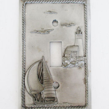 Light Switch Cover Pewter Light Switch Cover  Nautical Light Switch Plates Vintage Coastal Light Switch Cover Vintage Beach House Decor