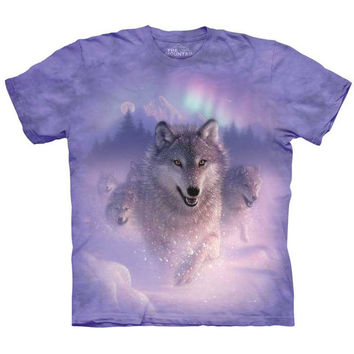 NORTHERN LIGHTS Wolf T-Shirt The Mountain Aurora Wolves Wolfpack Size S-5XL NEW!