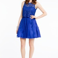 Short Lace Dress with Key Hole Back