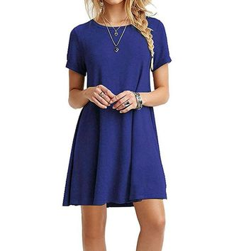 S-3XL Plus Size 2019 Spring A-Line Loose Women Casual Dress O-neck Short Sleeve Female Solid Mini Dresses Homewear GV882