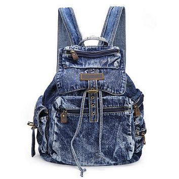 Women's Distressed Denim Backpack