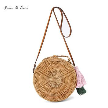 Straw Bags circle Rattan Bag tassel Beach bag Women Small Bohemian Bali Handbag Summer 2017 Handmade Crossbody leather shoulder