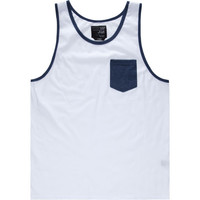 Blue Crown Contrast Mens Tank White  In Sizes