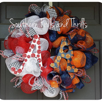 Housedivided Auburn/Alabama Deco Mesh Wreath