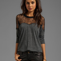 Rebecca Taylor Blocked Dolman Tee in Grey/Black
