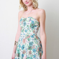 Women's Strapless Floral Grid Dress
