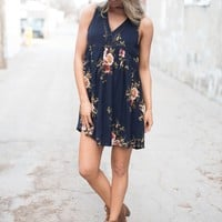 Find a Reason Floral Sleeveless Dress ~ Navy