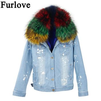 Furlove Winter Jacket Women 2017 Lady Real Raccoon fur Denim Jeans Down Jackets Winter Pink Fur Lining Female Jacket Overcoat