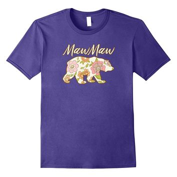 MawMaw Bear Floral T Shirt - Fun Matching Family Gift Tee