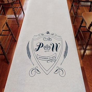 Regal Monogram Personalized Aisle Runner White With Hearts Berry (Pack of 1)