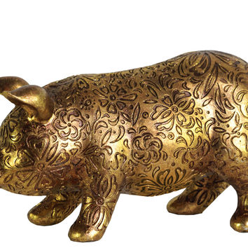 Resin Standing Pig Figurine with Engraved Floral Design Small Metallic Finish Gold