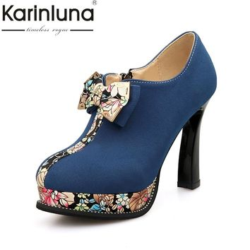 KarinLuna Large Size 32-43 strange style High Heels Women Shoes Woman bow tie Platform Office Lady Date Wedding Party Pumps