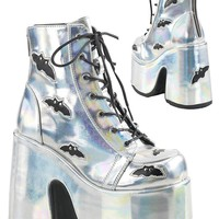 Demonia Holographic Camel 201 Platform Ankle Boot | RaveReady