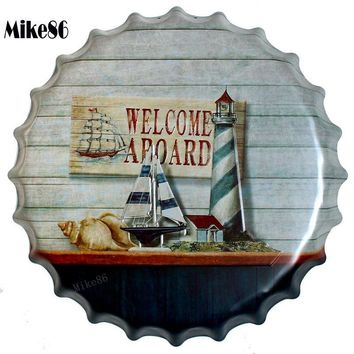 WELCOME A BOARD Mediterranean Bottle Cap Wall Painting Retro Metal Tin sign