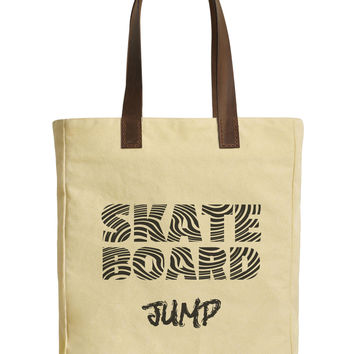 Skate Board Typography Beige Printed Canvas Tote Bags Leather Handles WAS_30