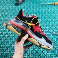 Balenciaga Triple S Clear Sole Trainers Red/Black Sneakers - Best Online Sale