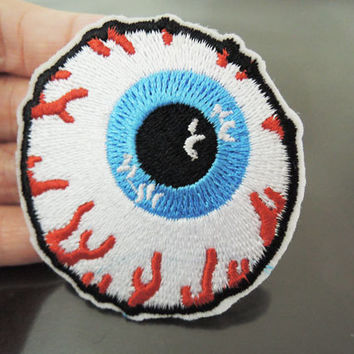 Iron on Patch - Eye Patch Eye Ball Patches Eyeball Iron on Applique Embroidered Patch Sew On Patch