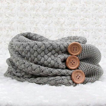 Gray Infinity Scarf Knit Sweater Scarf Circle Scarf Loop Scarf Winter Scarf Eternity Scarf Cowl Shawl Braided Neckwarmer Braided Cowl