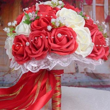 Faux Pearl Chain Artificial Rose Wedding Bridal Bouquets