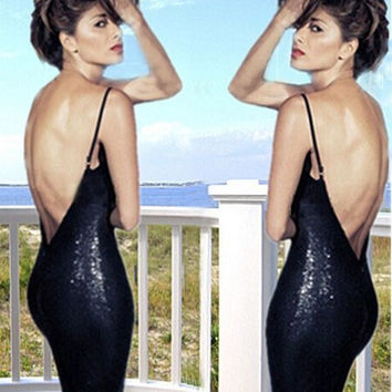 Black Spaghetti Strap Backless Sequined Bodycon Midi Dress