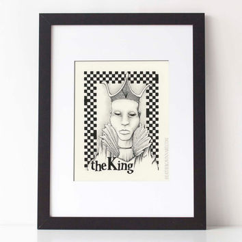 THE KING,  Chess Series: Art print, black and white pen and ink drawing, ink illustration, pen drawing 8x10 Limited Edition fine art print