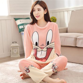2017 Winter Pajamas Women Coral Fleece Pajama Pants Thickened Women Sleepwear Cartoon Bunny Cotton Long Sleeve Adult Pajama Sets