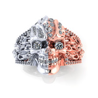 Skull Engagement Ring  18 K Genuine Diamonds