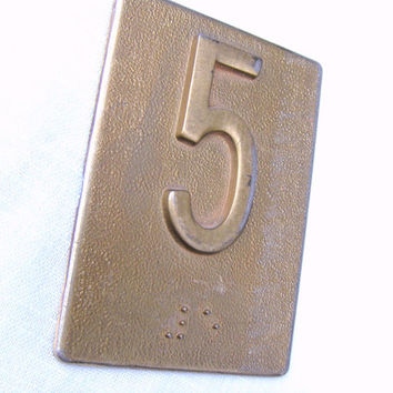 Vintage Brass Number Plate 5 w/ Braille Five - #3540