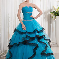 Turquoise Black Two Toned Floor Length Ball Gown Prom Dresses Seniors Strapless Beaded Ruched Organza Princess Corset Prom Gowns