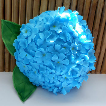 CHRISTMAS SALE Classic blue hydrangea flower pillow,flower pillow, baby nursery pillow,throw pillow, hydrangea pillow, 3d hydrangea,hostess