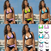Contrast Color Patchwork Cross Hollow Out V-neck Bikini