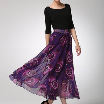 Maxi prom skirt purple chiffon skirt women skirt (1297)