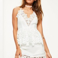 Missguided - White Lace Plunge Double Layer Skater Dress