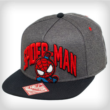 Spider Man Kawaii Grey Snapback Hat