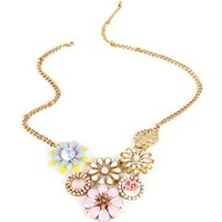 Gold Floral Bib Necklace