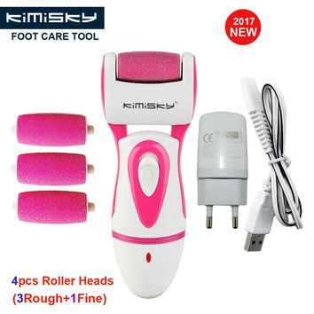 KIMISKY RED Rechargeable Foot Care Tool Powerful Electric Pedicure Foot File Callus Remover Personal Care 3Ps Sholls Roller Head