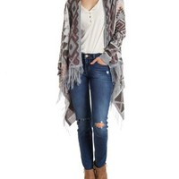 Lt Pink Combo Aztec Cardigan Sweater by Charlotte Russe