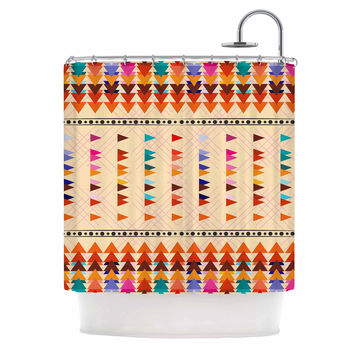"Famenxt ""Bohemian Triangle Pattern"" Orange Pastel Illustration Shower Curtain"