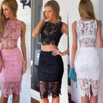 Lace Embroidery Flower Two-Piece