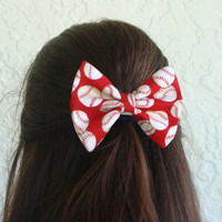 Baseball Hair Bow Red with Baseballs or Softballs Hair Clip Girl Teen Woman