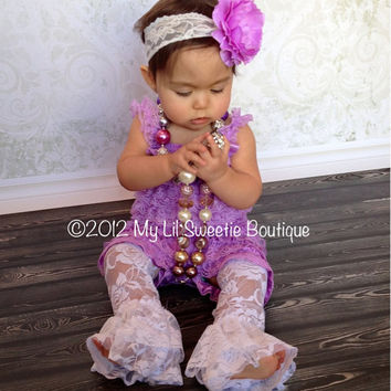 NEW Lavender Purple Lace Petti Romper set- Newborn - Baby Girl - Toddler outfit- birthday outfit - Valentines Day- photo prop- Easter