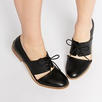 ASOS MARCIE Leather Wide Fit Flat Shoes