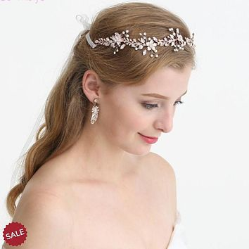 Rose Gold Blossom Wedding Bridal Tiara Hair Vine