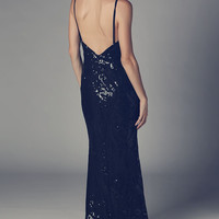 Black maxi dress with bead and sequin embellishment