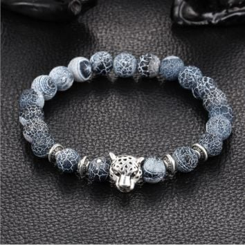 Natural gray blue weathering agate stone hand string round Buddha beads lion leopard head bracelet jewelry