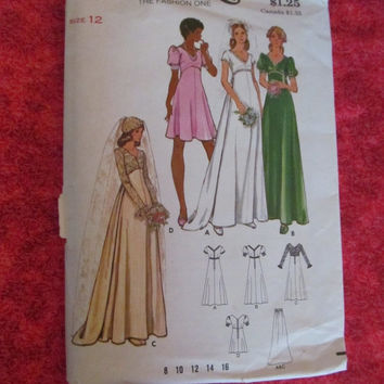 SALE UnCut 1970's Butterick Sewing Pattern, 3163! Size 12, Bust 34, Waist 26 1/2, Women's, Bridal Dress, Bridal Gown, Wedding Dress, Bridesm