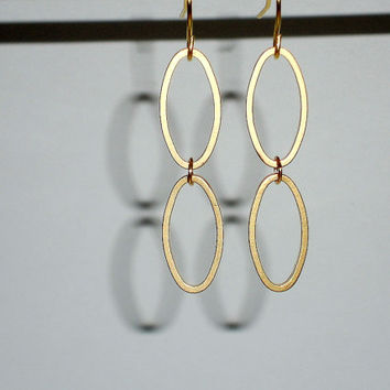 Gold Dangle Earrings Delicate Simple Link Oval Small Everyday