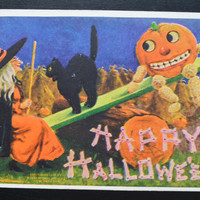 Halloween Postcard Artist Signed Bernhardt Wall Happy Halloween JOL Witch Black Cat Fantasy Card